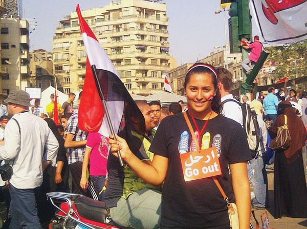 Salem at protests in Tahrir Square on July 3, the day President Morsi was deposed. deposed by the Egyptian military. Salem and her friend went to celebrate the removal of Morsi and the Muslim Brotherhood from power.