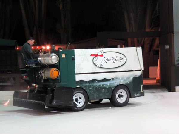 Manager Matthew McCoy polishes the ice with a Zamboni.