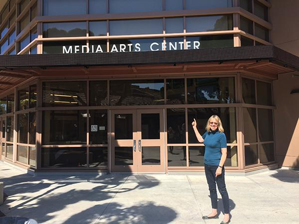 Esther Wojcicki poses outside of the Paly Media Arts Center, where this weekend's events will take place.