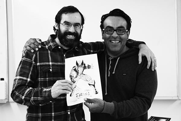 Farina and Bolanos showcase a coloring book picture of Wolverine that Bolanos labeled as Farina.