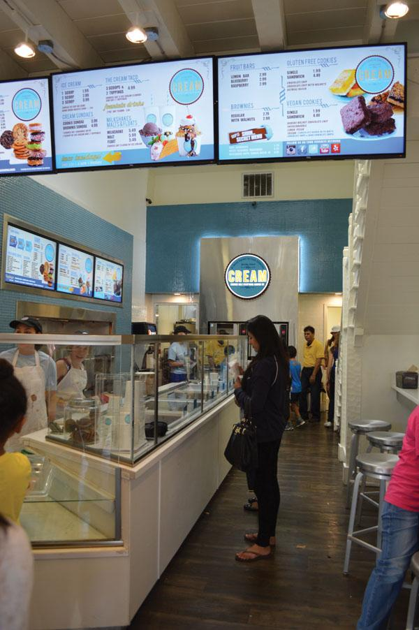 CREAM offers a wide variety of dessert options, including ice cream sandwiches, ice cream tacos, and gluten or dairy free choices.
