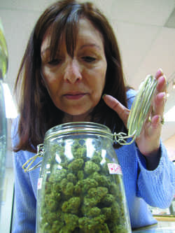 Bri Welles examines one of 36 flavors of Cannabis at Natural Herbal Pain Relief, in San Jose.  Welles, 45, suffers from arthritis and neuropathy, causing her to experience intense pain in her feet, preventing her from standing for long periods of time.