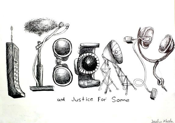 Paly student Joceyln Khosla created this artistic cartoon to depict how the NSA's spying violates the right to freedom and liberty.