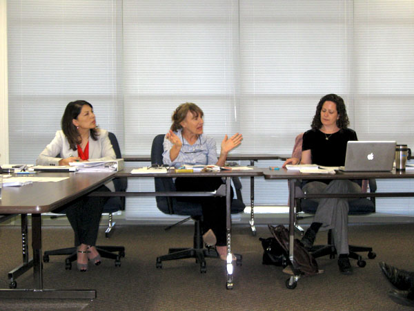 The PAUSD Board Policy Review Committee held a public meeting on March 12 to discuss the bullying policy. The meeting included, from left, Coordinator of Student Services Brenda Carrillo and board members Camille Townsend and Heidi Emberlinger.