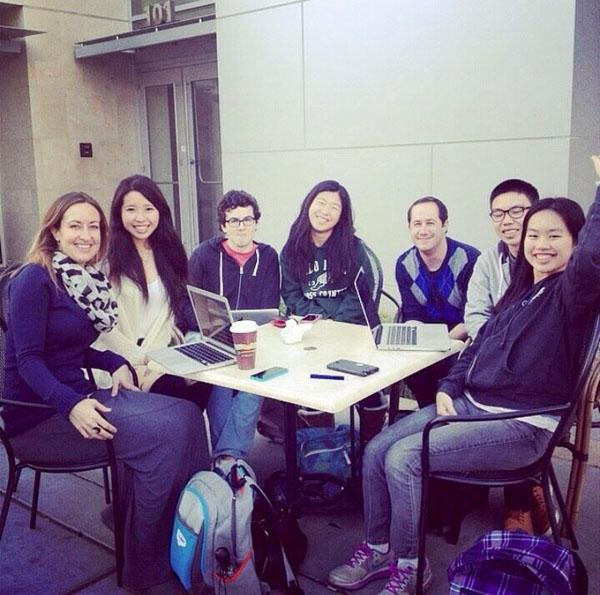 The ClickPA staff consists of local high school students working to create and update a running list of all events and activities available to teens in the Palo Alto area. From left: Lacee Korsten, Ally Gong, Fabian Garduño, Bethany Wong, Kevin Zittle, Charles Yu, Sharon Chen