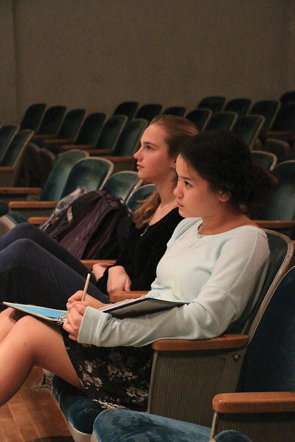 """Stage Manager Hannah Nguyen oversees rehearsal for the upcoming musical, """"Drowsy Chaperone,"""" alongside actress Zoe Limbrick."""