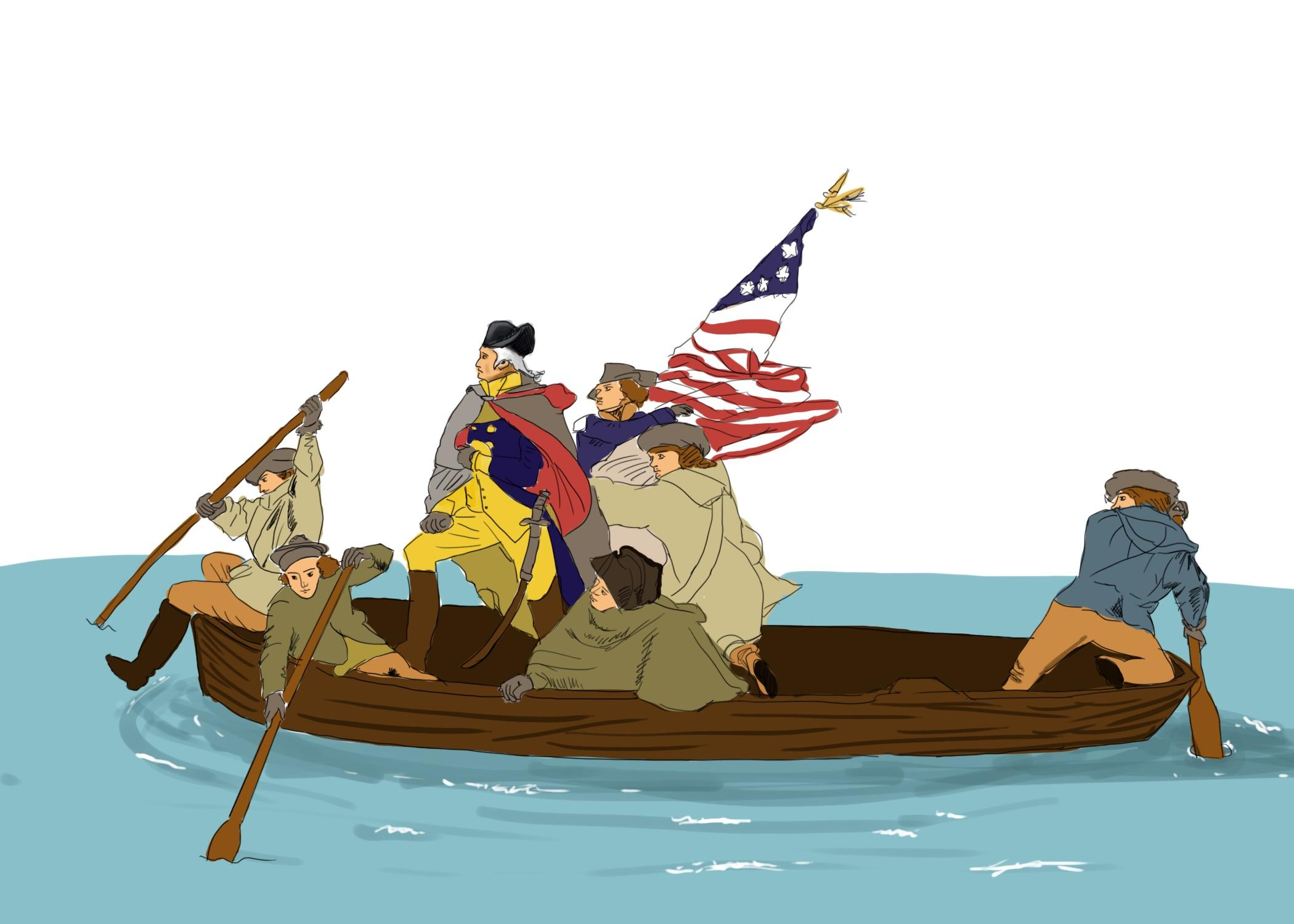 TEXTBOOK EVENT George Washington and his troops are portrayed as brave and strong soldiers on their way to defeating the British.
