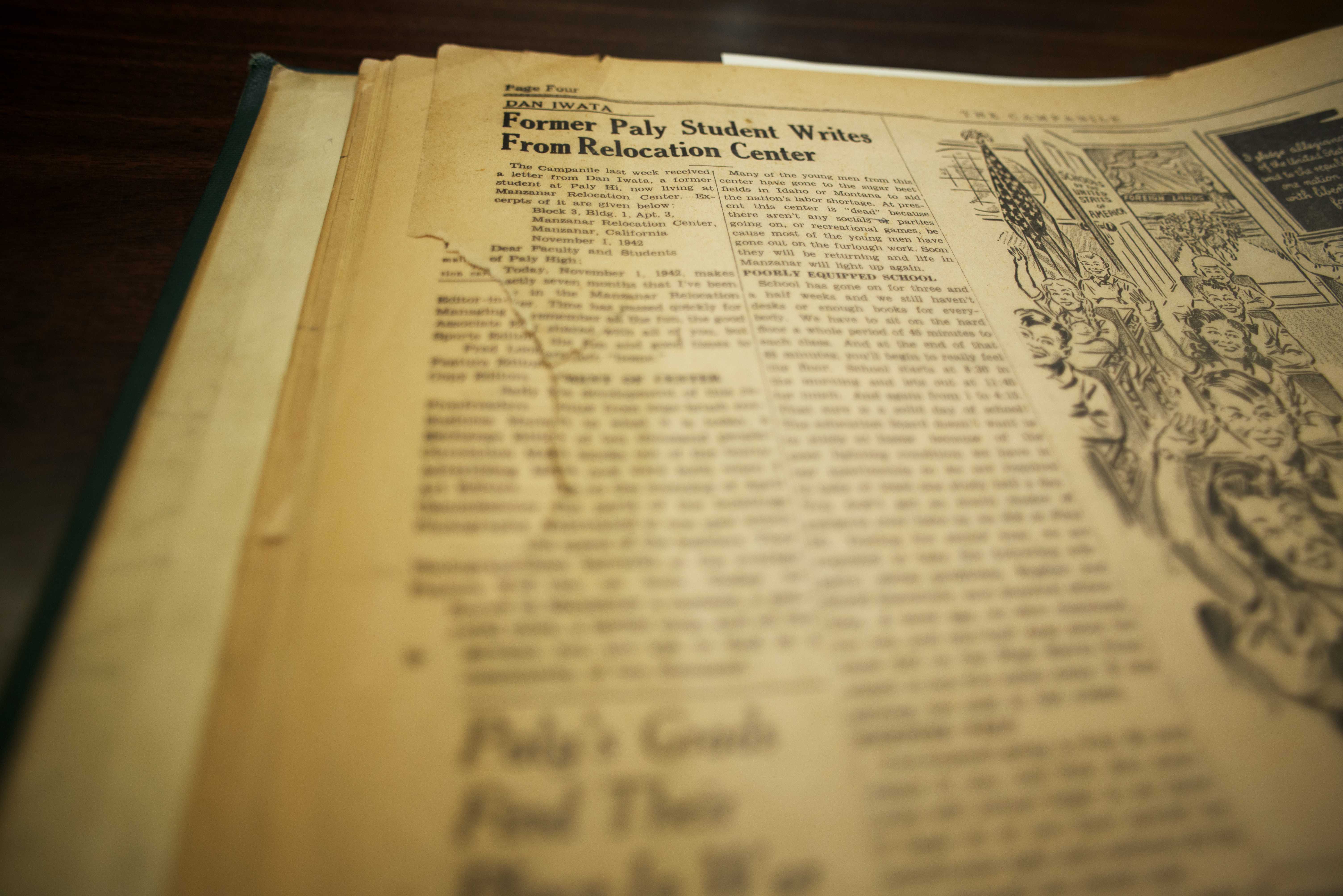 An article published in a 1942 edition of the Campanile, housed in the Paly archives. Photo by William Dougall.